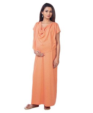 Kriti Half Sleeves Polka Dotted Maternity Nighty - Orange