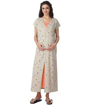 Kriti Full Length Maternity & Nursing Nighty Drop Print - Beige Peach