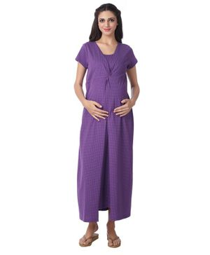 Kriti Full Length Maternity & Nursing Polka Dotted Nighty - Purple
