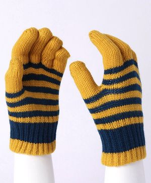 Model Striped Hand Gloves - Yellow Blue