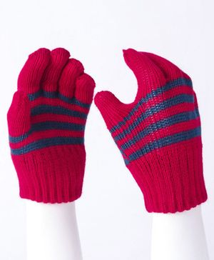 Model Striped Hand Gloves - Red