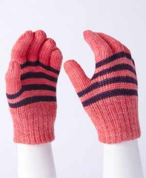 Model Striped Hand Gloves - Pink