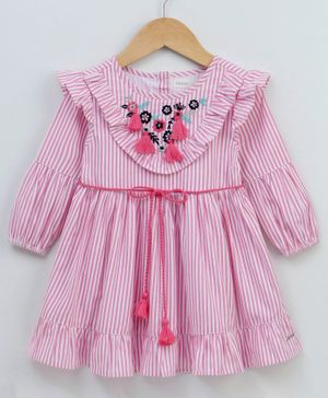 Babyoye Full Sleeves Striped Cotton Frock With Floral Tassels - Pink
