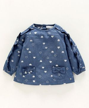 Babyoye Cotton Full Sleeves Top With Bow Patch Pockets - Blue