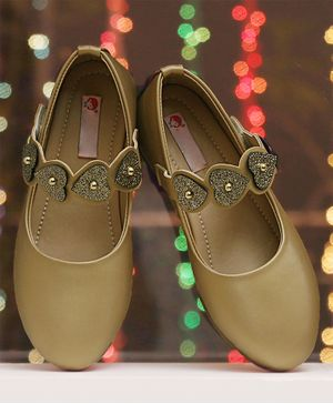 D'Chica Shimmer Finish Heart Patch Strap Mary Janes - Golden