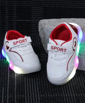 Kidlingss Velcro Closure Led Shoes - White & Red