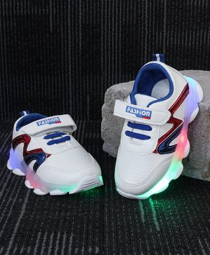 Kidlingss Zig-Zag Design Led Shoes - Blue & Red
