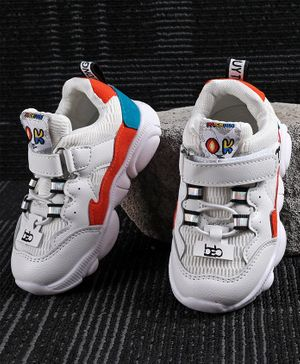 Kidlingss Colour Block Pattern Velcro Closure Shoes - White