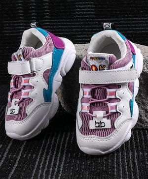 Kidlingss Colour Block Pattern Velcro Closure Shoes - Purple