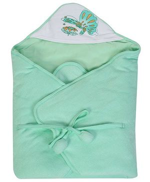 Tinycare Hooded Towel Butterfly Print - Light  Green