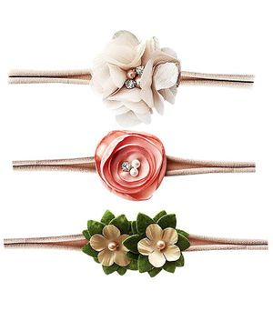 Bembika Baby Floral Headbands Set of 3 - Brown