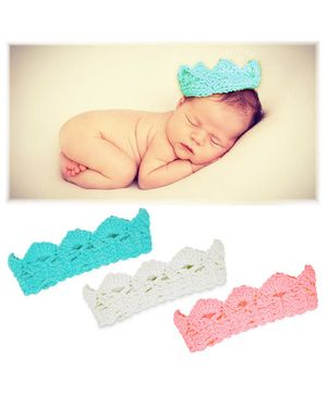 Bembika Crochet Knit Crown Tiara For Baby Photography Set Of 3 - Multicolor