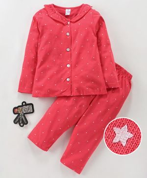 Smarty Full Sleeves Night Suit Star Print - Scarlet Red