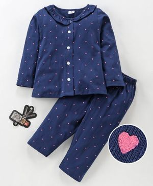 Smarty Full Sleeves Night Suit Heart Print - Navy Blue