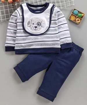 ToffyHouse Full Sleeves Striped Tee Lounge Pant & Bib - White Navy Blue