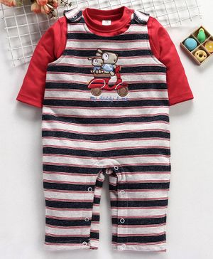 ToffyHouse Romper With Full Sleeves Tee Animal Patch - Red
