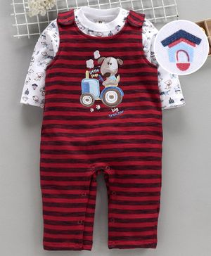 ToffyHouse Romper With Full Sleeves Tee Doggy Patch - Red
