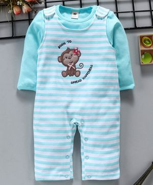 ToffyHouse Striped Romper With Full Sleeves Tee Monkey Patch - Blue