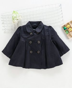ToffyHouse Full Sleeves Pleated Jacket - Navy Blue