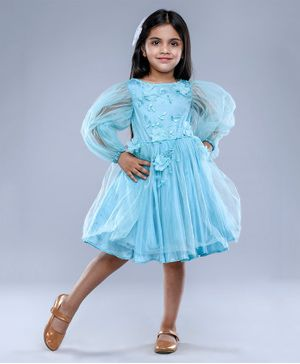 Jelly Jones Balloon Full Sleeves Flower Applique Dress - Light Blue