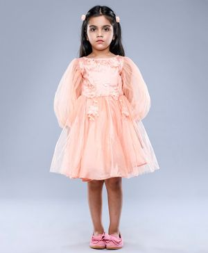 Jelly Jones Balloon Full Sleeves Flower Applique Dress - Peach