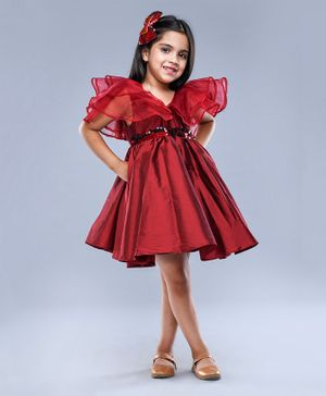 Jelly Jones Ruffled Half Sleeves Sequin Belt Detailed Dress - Maroon