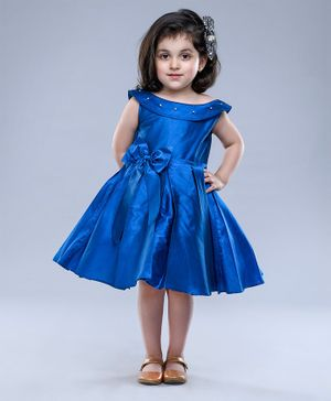 Jelly Jones Bow Applique Sleeveless Dress - Royal Blue