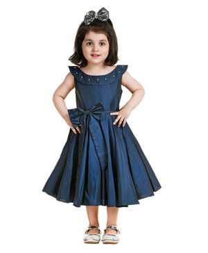 Jelly Jones Bow Applique Sleeveless Dress - Blue