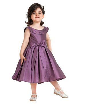 Jelly Jones Bow Applique Sleeveless Dress - Purple