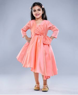 Jelly Jones Big Sequin Bow Detailed Three Fourth Sleeves Dress - Peach