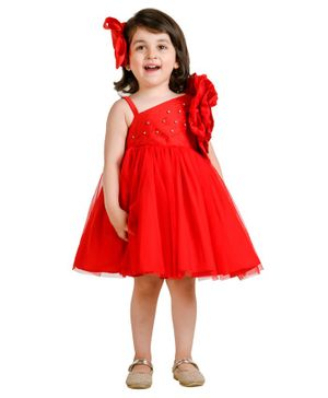 Jelly Jones Diamond Detailed Flower Theme Sleeveless Dress - Red
