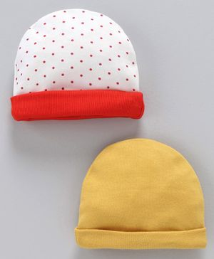 Ben Benny Cap Polka Dot Print Pack Of 2 - Red & Yellow