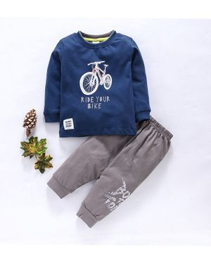 Ollypop Full Sleeves Tee And Lounge Pant Bike Print - Blue Grey