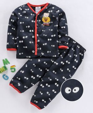 First Smile Full Sleeves Night Suit Bear Print - Navy Blue