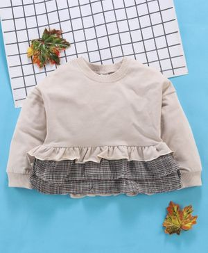 Lekeer Kids Full Sleeves Top With Layered Hem - Cream