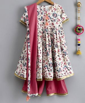 Hugsntugs All Over Floral Print Half Sleeves Anarkali Kurta With Palazzo & Dupatta - Multi Colour