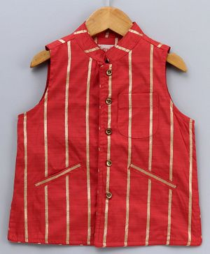 Hugsntugs Sleeveless Gold Striped Jacket - Red