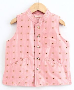 Hugsntugs Small Gold Motifs Sleeveless Jacket - Light Pink