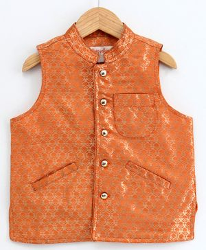 Hugsntugs Gold Self Design Sleeveless Jacket - Orange