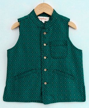 Hugsntugs Self Embroidered Sleeveless Jacket - Green