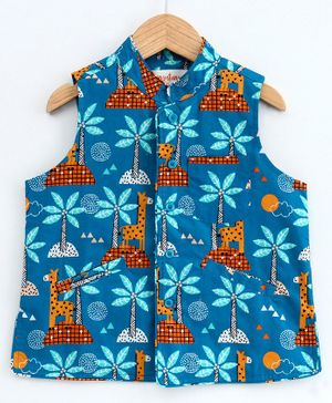 Hugsntugs Giraffe & Palm Tree Print Sleeveless Jacket - Blue
