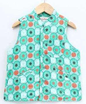 Hugsntugs Kaleidoscopic Print Sleeveless Jacket - Sea Green