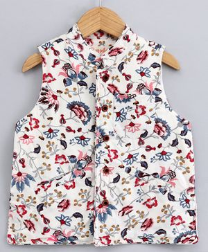 Hugsntugs Floral Print Sleeveless Jacket - White