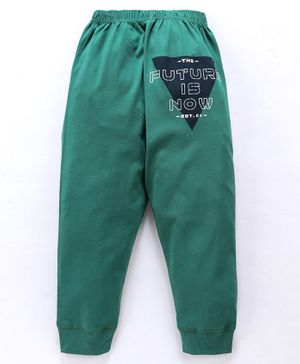 Doreme Full Length Lounge Pant Text Print - Dark Green