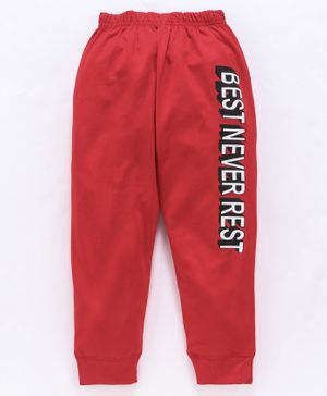 Doreme Full Length Lounge Pant Text Print - Red