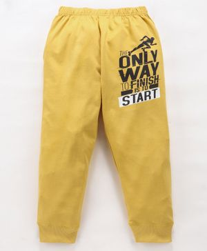 Doreme Full Length Lounge Pant Text Print - Yellow