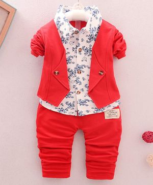 Pre Order - Awabox Flower Printed Full Sleeves Shirt With Elasticated Pants - Red