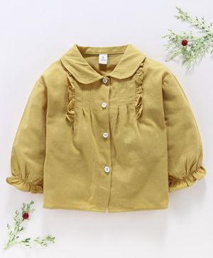 Lekeer Kids Full Sleeves Solid Shirt Ruffle Detail - Yellow