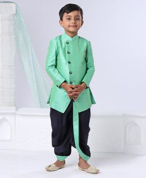 Ethnik's Neu Ron Full Sleeves Kurta And Dhoti - Green Navy Blue