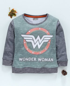 Eteenz Winter Wear Full Sleeves Top Wonder Woman Print - Light Grey